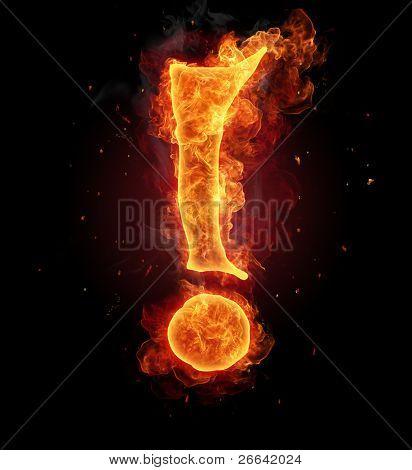 Burning fire alphabet symbol - exclamation mark