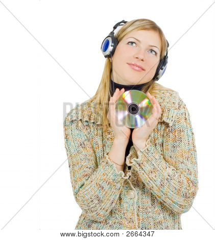 Girl Listening To Music With Love And Pleasure