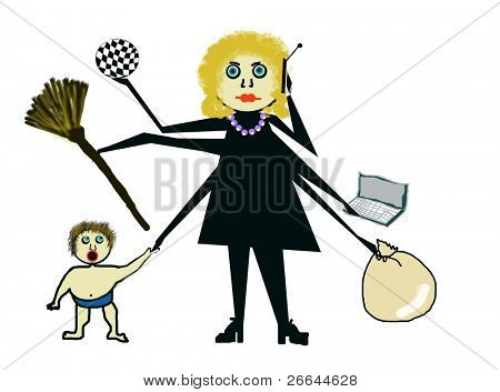 Child's drawing of a busy mother, jpeg illustration