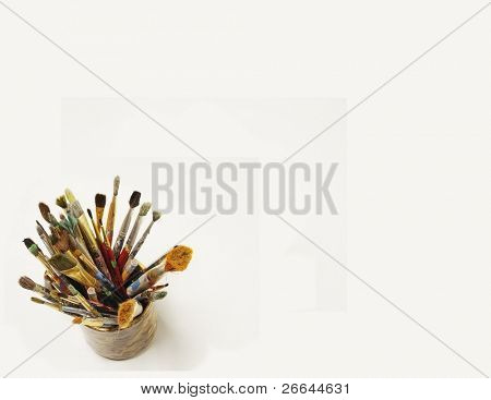 Paint brushes, isolated on white, with plenty space for text