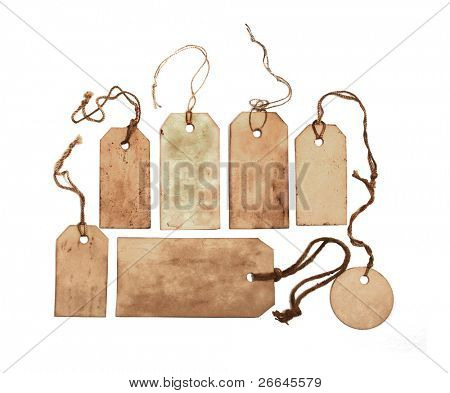 Conjunto de etiquetas manchadas con cadenas