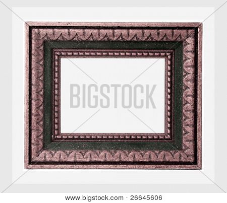 Old wooden frame, isolated on white