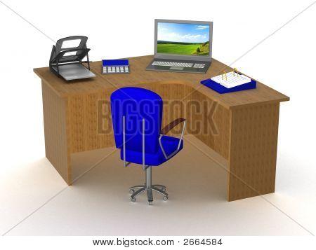 Innere Büroarbeitsplatz