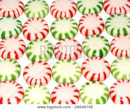 Rows of green and red candy