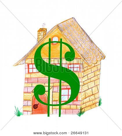 House with a large dollar sign, cost of housing concept, jpeg illustration