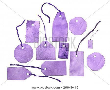 Set of purple tags