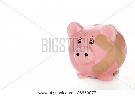 Piggy bank with a band aid