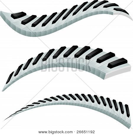 Illustration of wavy piano keys