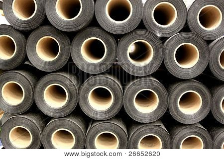 Rolls of roofing material for background