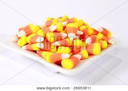 Candy corn on a little saucer