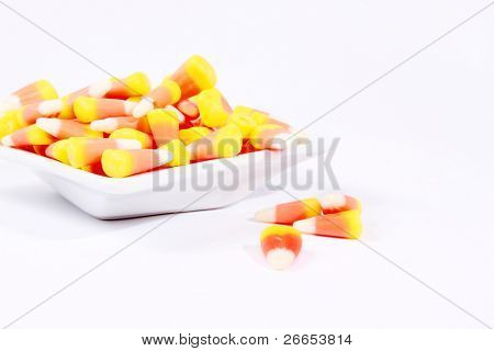 Candy corn on a little saucer