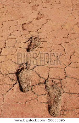 Trockenen Fußes mit nackten Fuß druckt