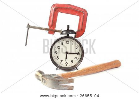 Alarm clock with c clamp and hammer