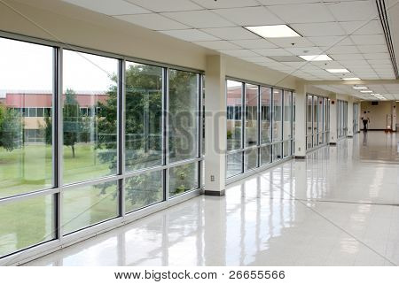 Empty hall with lots of windows