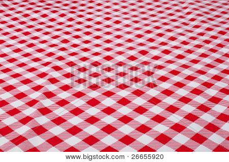 White and red tablecloth