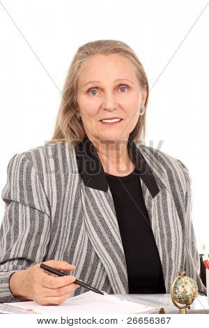 Mature woman with a note pad