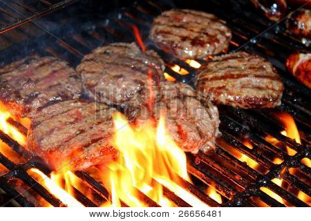 Hamburger patties on the grill