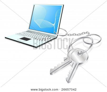 Laptop Keys Access Concept