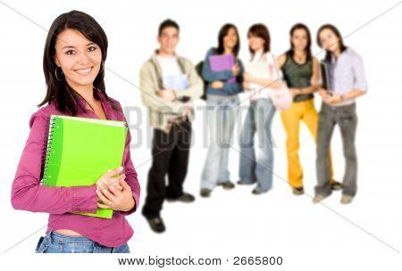 College-Studenten, die lächelnd