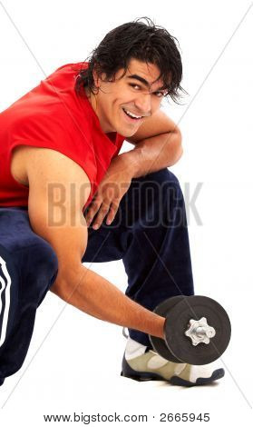 Man With Free Weights