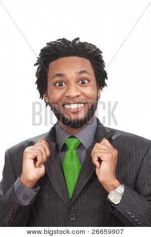 Funny looking black businessman