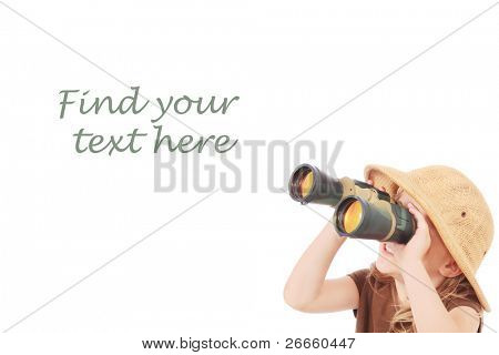 Little girl looking into binoculars