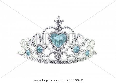 Tiara with blue stones on white