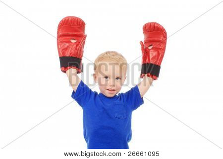 Little boy with large boxing gloves