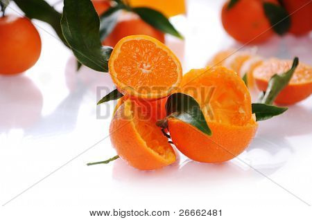 fresh mandarin close-up isolated on a white background