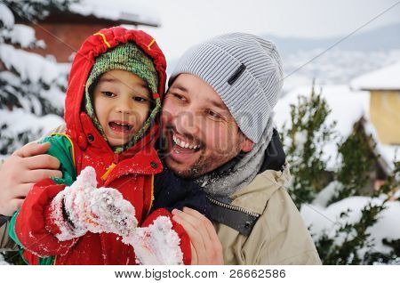 Happy family on winter vacation