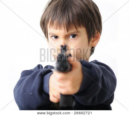 boy pointing gun at camera