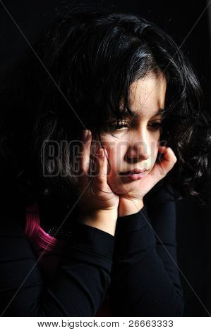beautiful Girl with Depression isoliert