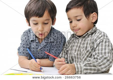 Learning process, cute children
