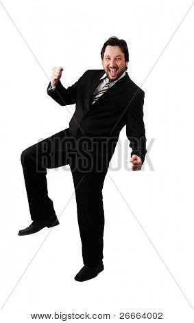 Portrait of young businessman shouting loudly with his arms widened