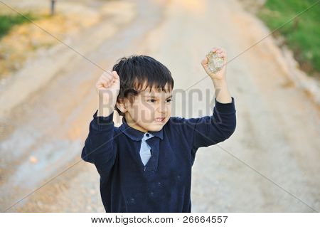children in the street, angry