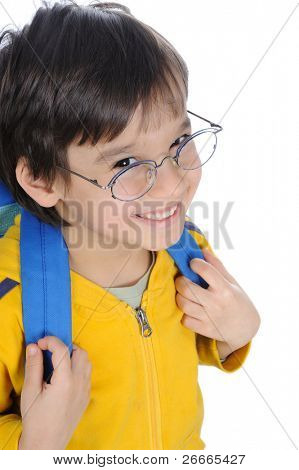 school children, cute boy with bag on back and glasses, smiling