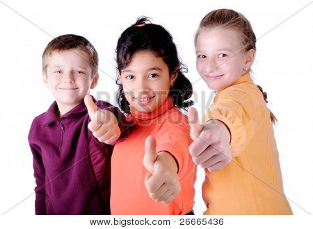 happy three children, male and female, thumbs up