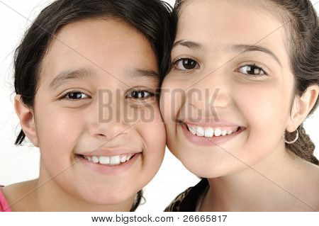Two girl sisters best friends together smiling