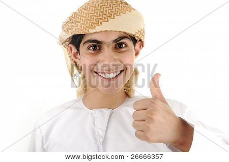 Happy kid boy thumping [May be offesive gesture in Middle Eastern Countries and Internationally]