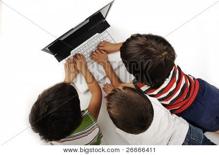 Three chidren activities on laptop isolated in white