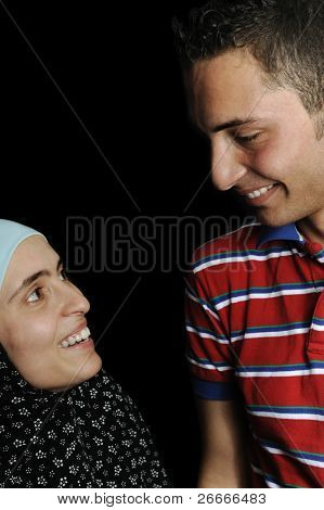 Muslim arabic couple, male and female together
