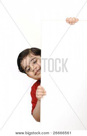 Pretty little boy on white background