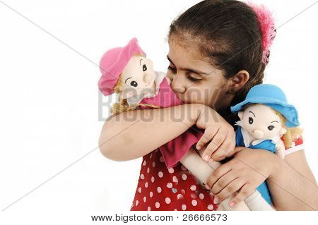 Pretty little girl on white background with her toys