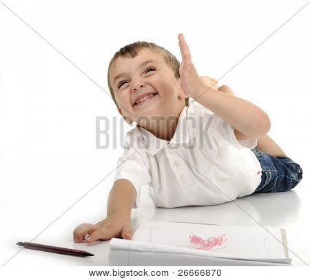 escrevendo menino miúdo