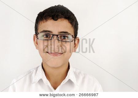 school kid boy with glasses