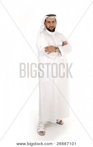 Smiling young success man, arabic traditional clothes