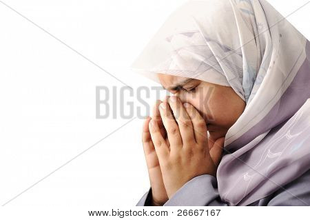 woman muslim is crying