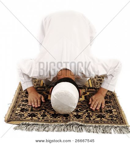 Arabic Muslim kid showing Islamic prayer