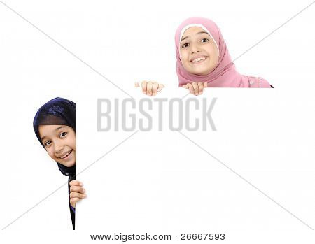 Little Muslim girl with copy space for your text
