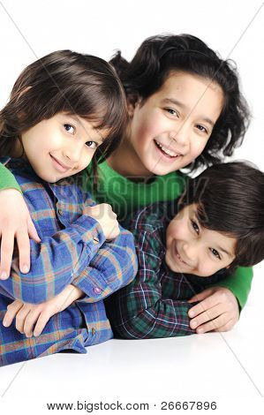 Three happy children, love, care and togetherness